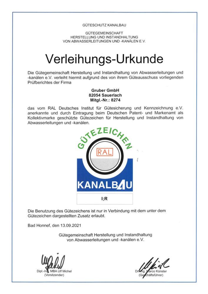 Zertifikat Güteschutz Kanalbau - GRUBER GmbH