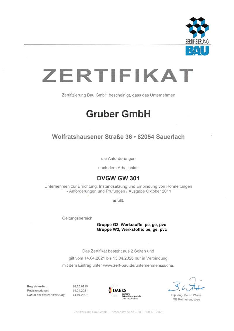 Zertifikat GRUBER, Sauerlach